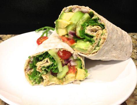 Whole-grain Lavash Flatbread with hummus and veggies