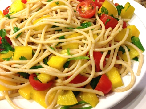 Whole-Wheat Spaghetti with Fresh Veggies