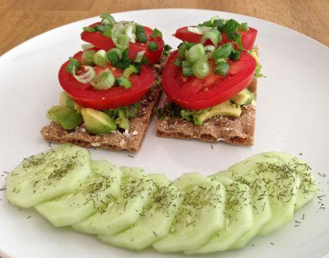 Flatbread with stacked veggies