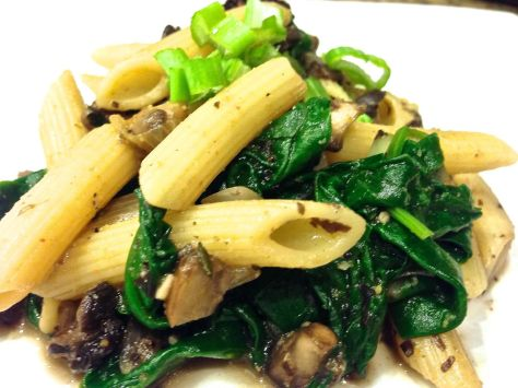 Penne Pasta with Portabella Mushrooms and Spinach