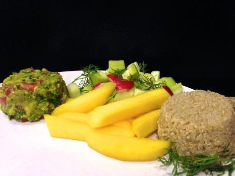Quinoa, Guacamole, Cucumber with Sliced Mango