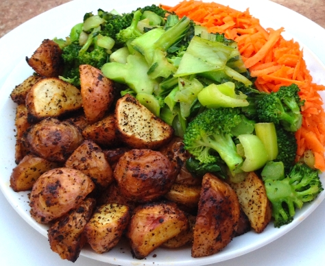 Roasted Baby Red Potatoes with Broccoli and Grated Carrot