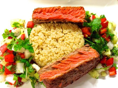 Broiled Marinated Wild Sockeye Salmon with Quinoa and Salad