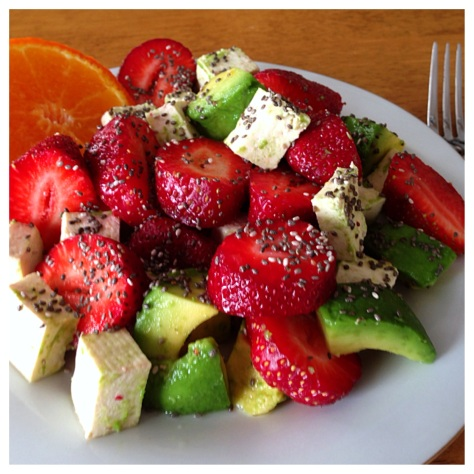 Tofu, Avocado, and Strawberry Salad