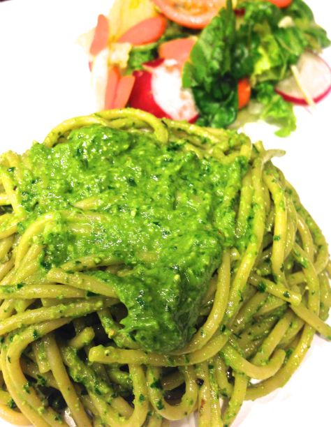 Basil, Italian Parsley, Cilantro and Mint Pesto with Pasta